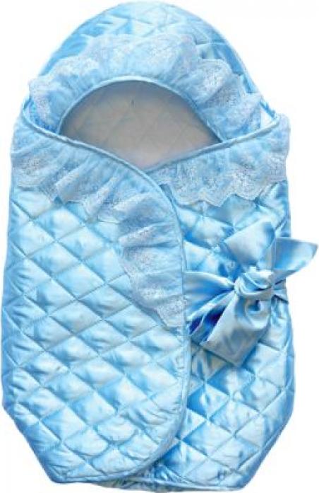 Конверт ОТК на выписку, верх-тисненый шелк, наполнитель-файберпласт подкладка сатин голубойК110354