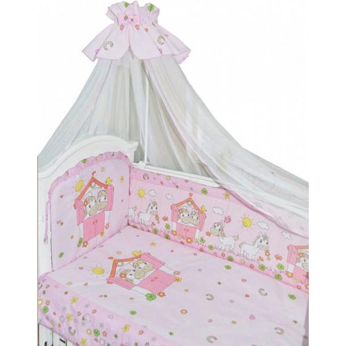 Комплект постельного белья Золотой Гусь Лошадки розовый 1206