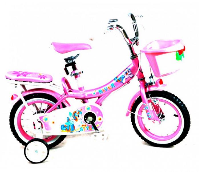 Велосипед двухколесный Rivertoys S-14 розово-белый