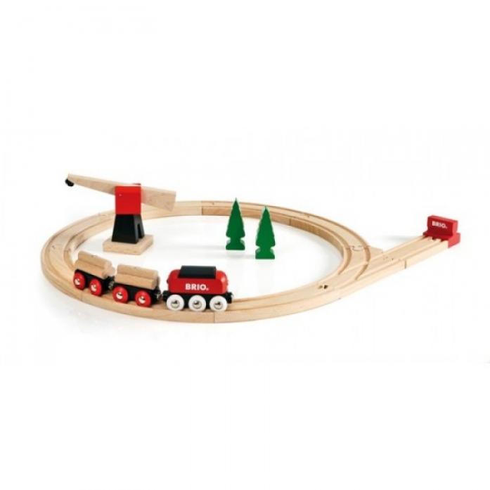 Железная дорога Brio с краном 18 элементов 33010