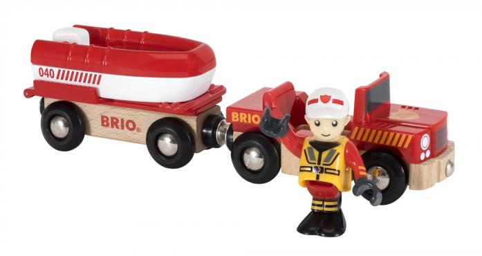 Игровой набор Brio Спасательная лодка с прицепом 33859