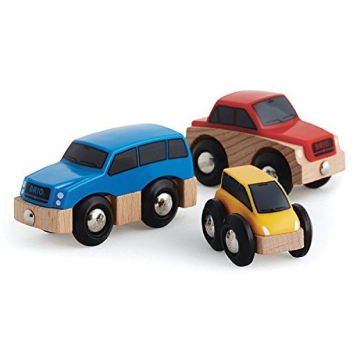 Игровой набор Brio 3 деревянные машинки 33759