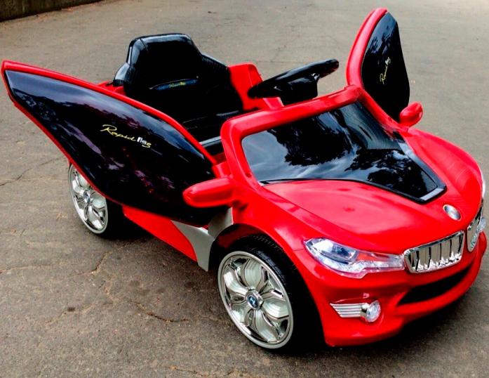 Детский электромобиль Rivertoys BMW O 002 OO VIP красный сиденье кожа
