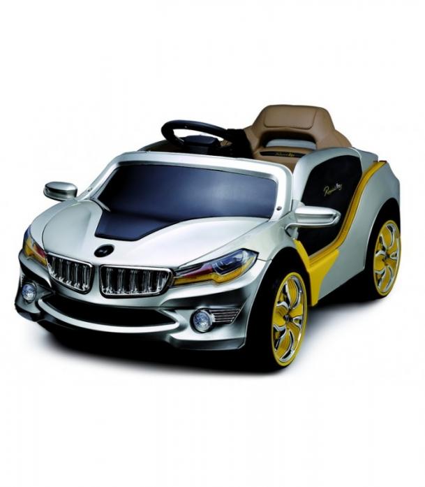 Детский электромобиль Rivertoys BMW O 002 OO серебристый VIP сиденье кожа
