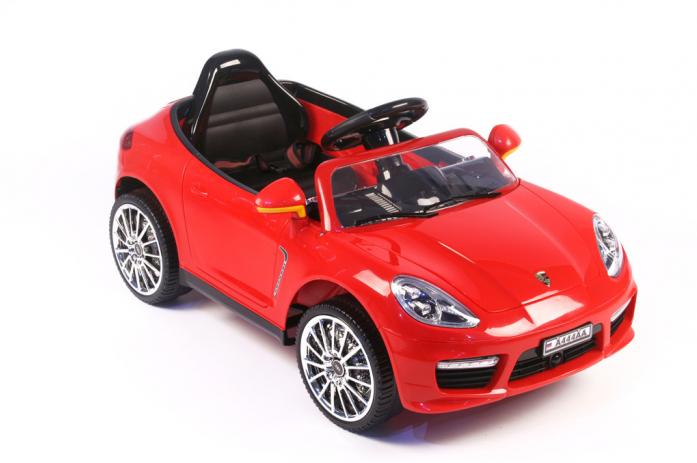 Детский электромобиль Rivertoys Porsche Panamera А444АА красный кожа