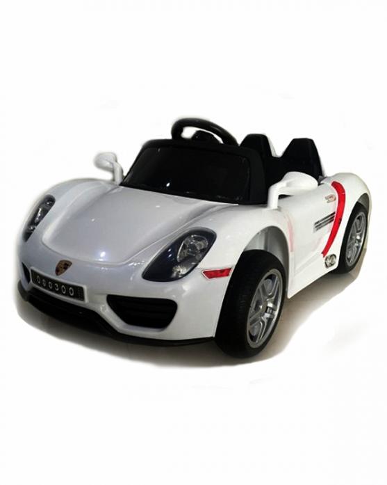 Детский электромобиль Rivertoys Porshe О 003 ОО VIP белый сиденье кожа