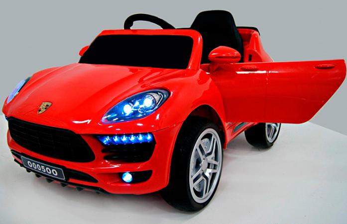 Детский электромобиль Rivertoys Porsche Macan О 005 ОО VIP красный сиденье кожа