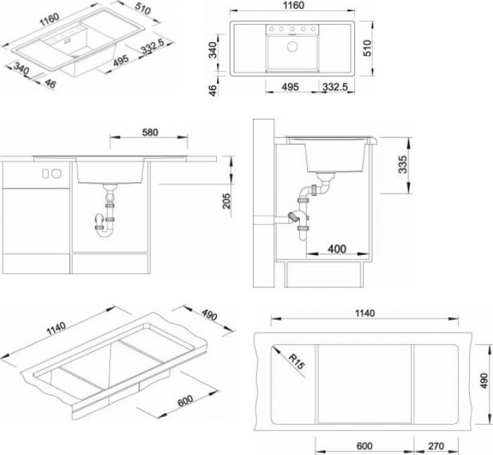 Кухонная мойка Blanco Alaros 6S аксессуары из черного стекла (516556) антрацит