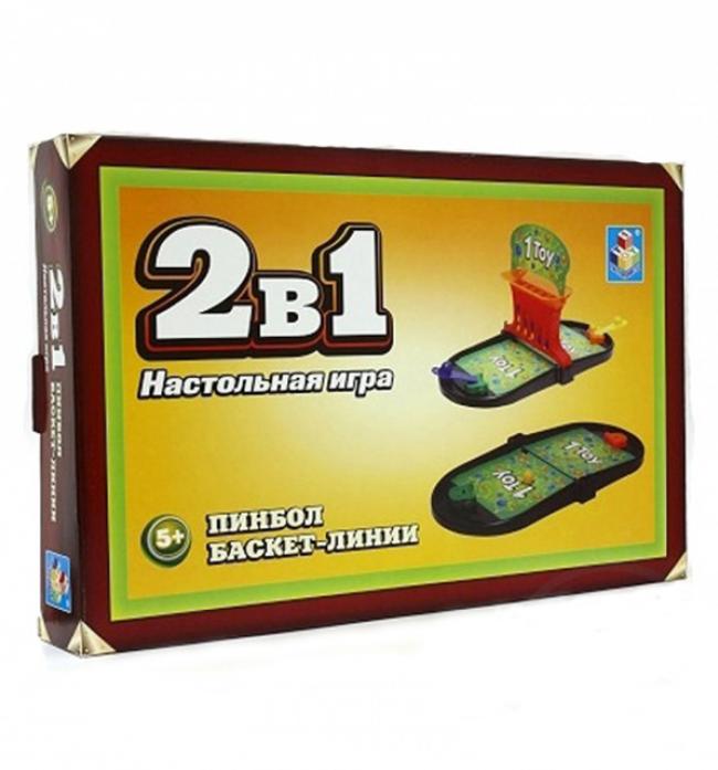 Игра настольная 2в1 1toy Пинбол/Баскет-линии Т52454