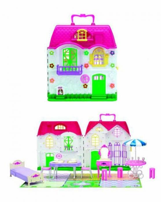 Игровой набор 1toy Красотка дом для кукол с мебелью (2 секции 28 деталей) Т56586