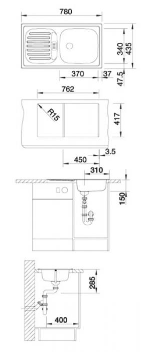 Кухонная мойка Blanco Flex Mini (512032) комплект поставки (200874+213567)