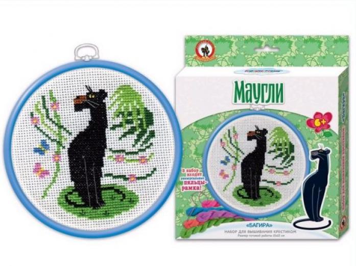 Вышивка Русский Стиль с пяльцами Союзмультфильм Маугли. Багира 3796