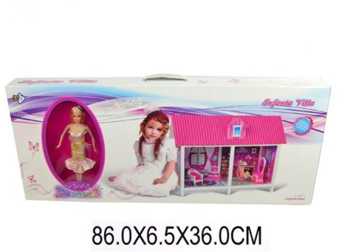 Дом для куклы Shantou Gepai для куклыв наборе с куклой 29см, кор. 66882