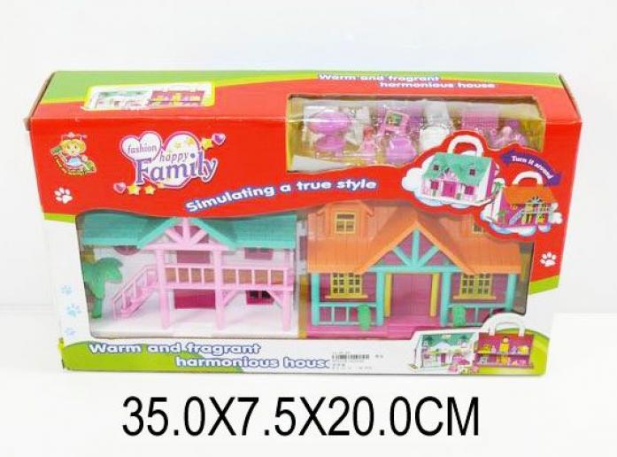 Дом для куклы Shantou Gepai для кукол Счастливая семья, с мебелью 32524A