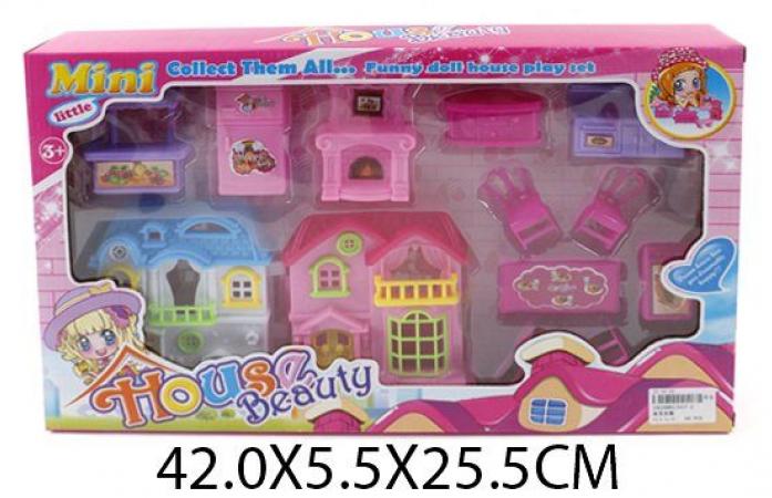 Домик для куклы Shantou Gepai с мебелью для кукол 10 см 017-2