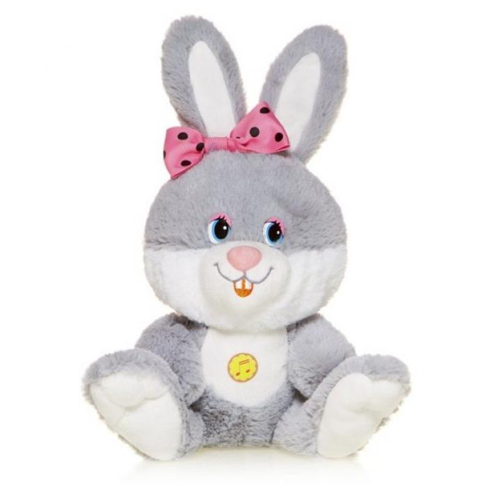 Мягкая игрушка MaxiToys Зайка Милашка с Розовым Бантиком Озвученная 21 См MP-HH-R8995E