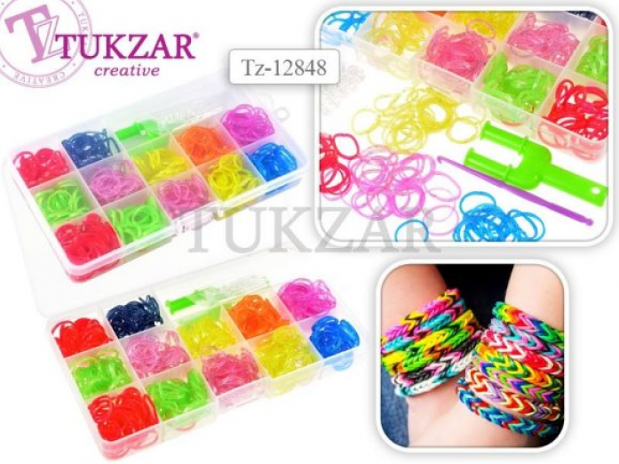 Набор для творчества Tukzar цветные резиночки с блестками, 600 шт., станок-рогатка, крючок. TZ 12848