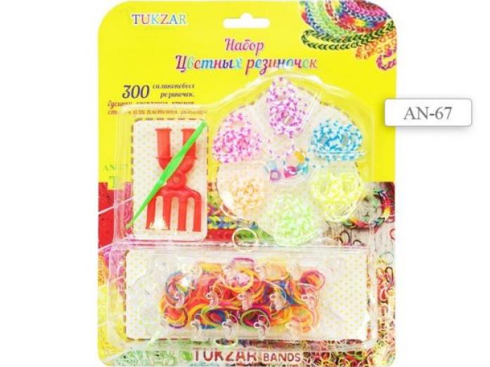 Набор для творчества Tukzar цветные резиночки со станком, 300 шт. AN-67