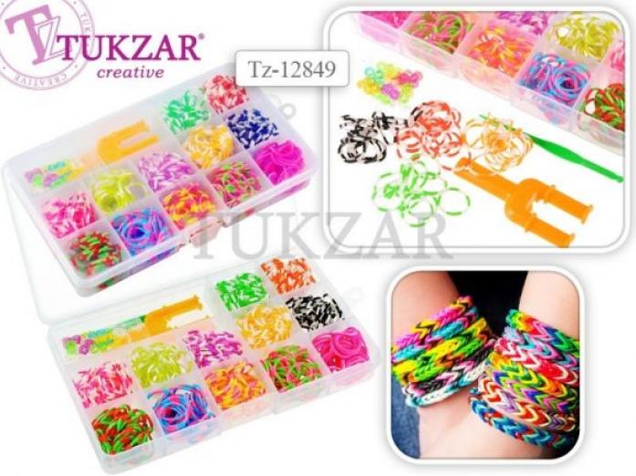 Набор для творчества Tukzar цветные резиночки, 600 шт.двухцветных, станок-рогатка, крючок. TZ 12849