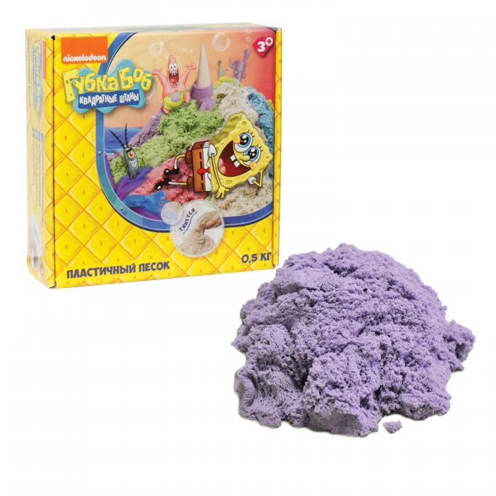 Песок для лепки 1toy Губка Боб - Космический песок Сиреневый 0,5 кг Т58368