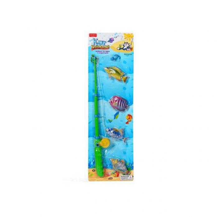 Игрушка Zhorya Кот-рыболов 4 рыбки Х76222