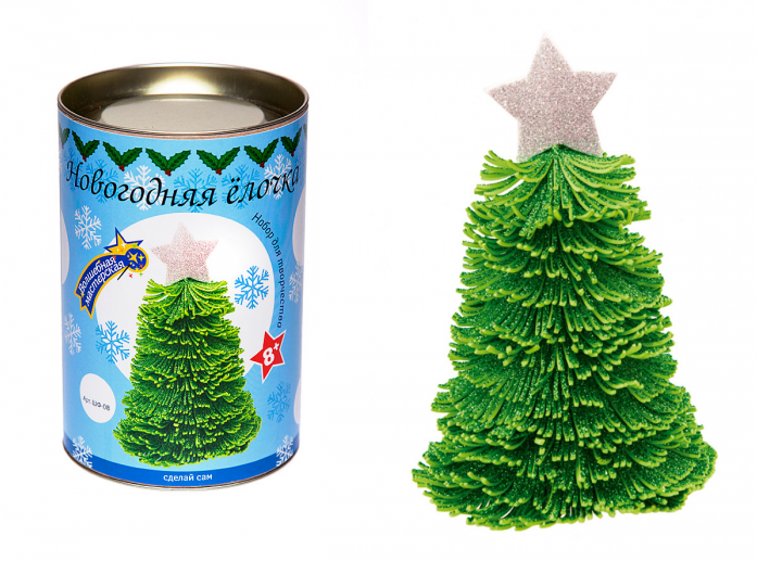 Набор для творчества Волшебная мастерская Новогодняя елочка зеленая с серебряной звездой ШФ-08