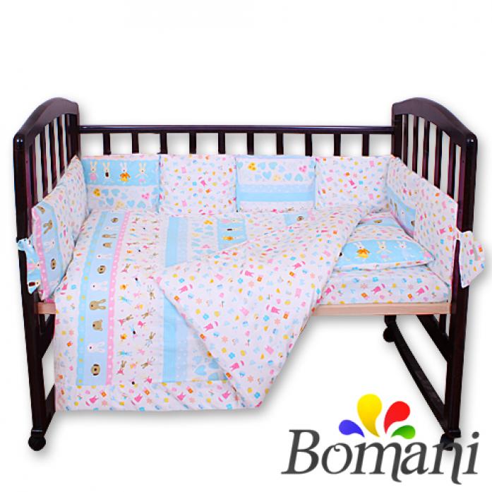 Комплект в кроватку Bomani Веселые зайки 29 предметов К-Б4/4/funny Bunny /blue