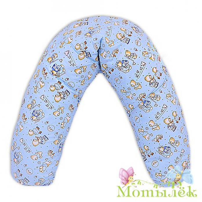 Подушка для будущих и кормящих мам Мотылек 130*30 голубой 130I