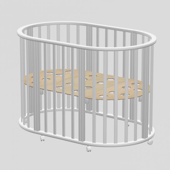 Кровать-трансформер Ведрусс Оливия овальная 3в1 Белая