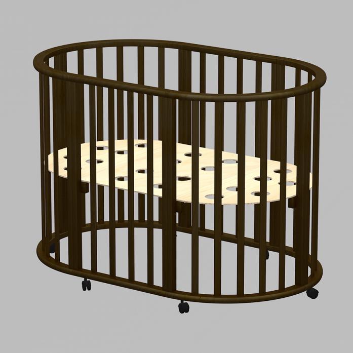 Кровать-трансформер Ведрусс Оливия овальная 3в1 Венге