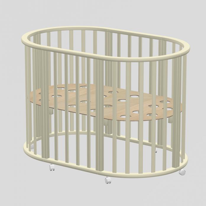 Кровать-трансформер Ведрусс Оливия овальная 3в1 Слоновая кость