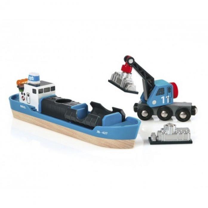 Игровой набор Brio Корабль и кран-погрузчик 33534