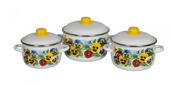 Набор посуды Стальэмаль 1КА021М Анютины глазки