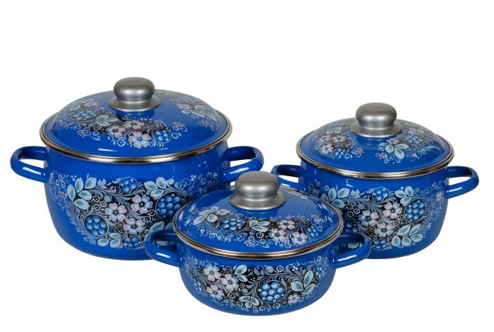 Набор посуды Стальэмаль 8КА071М Вологодский сувенир