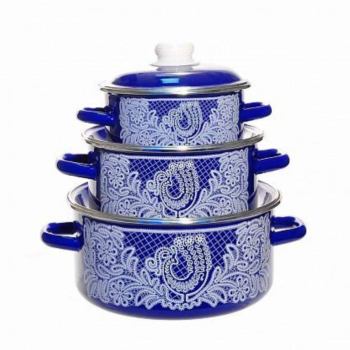 Набор посуды Стальэмаль 1КВ081М Вологодское кружево