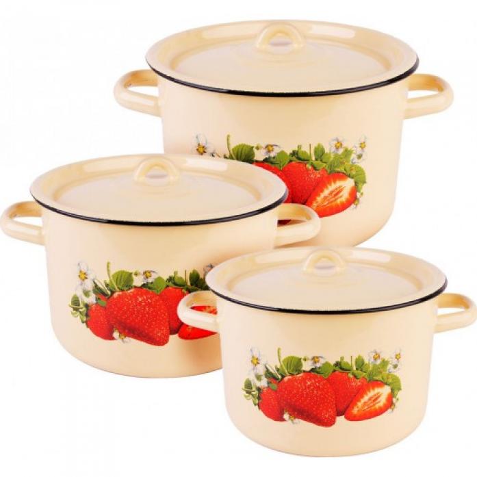 Набор посуды Стальэмаль 1С112/1 Клубника садовая