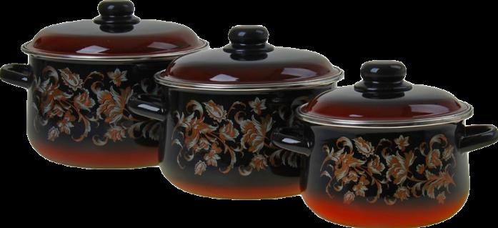 Набор посуды Стальэмаль 1С408 Драгоценный черный