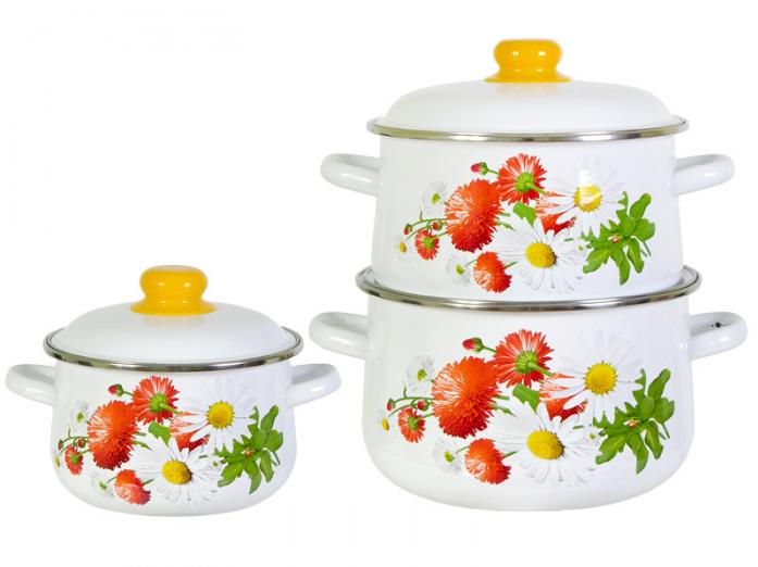 Набор посуды Стальэмаль 1С408 Маргаритки