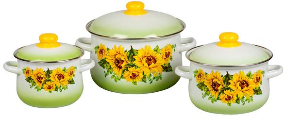 Набор посуды Стальэмаль 1С408 Подсолнухи