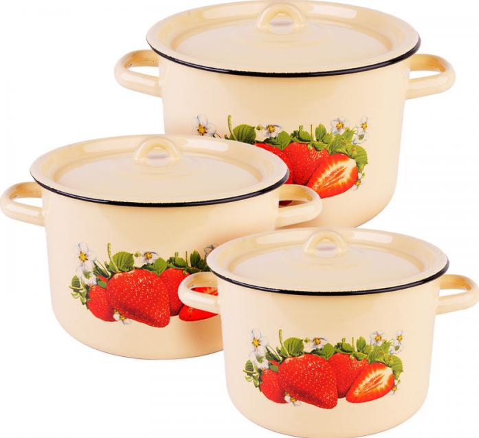 Набор посуды Стальэмаль 1С33 Клубника садовая бежевые