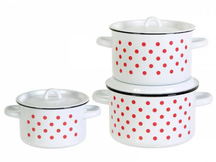Набор посуды Стальэмаль 1С33 Красный горох белые