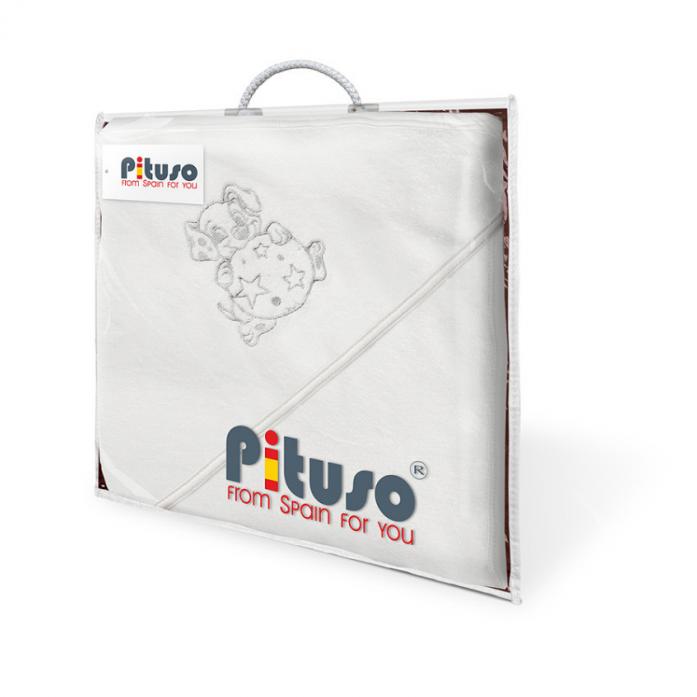 Полотенце Pituso Щенок с мячиком белое махровое 100*100 P005T