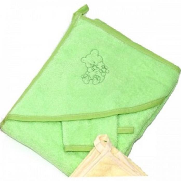 Пеленка-полотенце для купания с варежкой Bombus 9014 зеленая