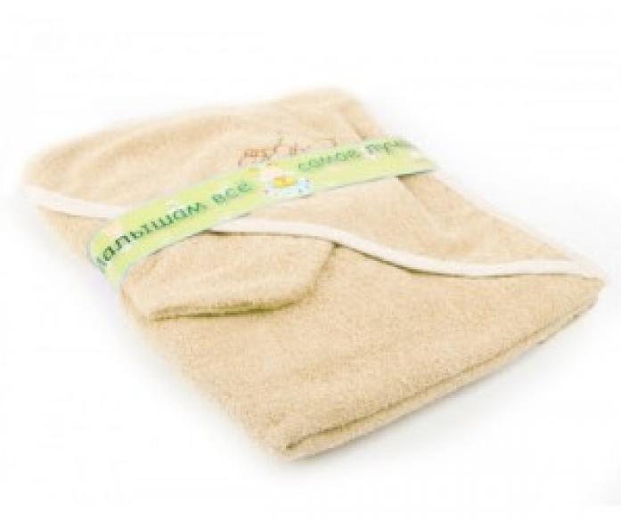 Пеленка-полотенце для купания с варежкой Bombus 9013 бежевая