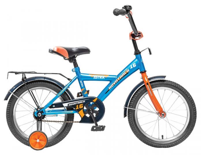 """Велосипед Novatrack Astra 20"""" рама сталь с боковыми колесами синий"""