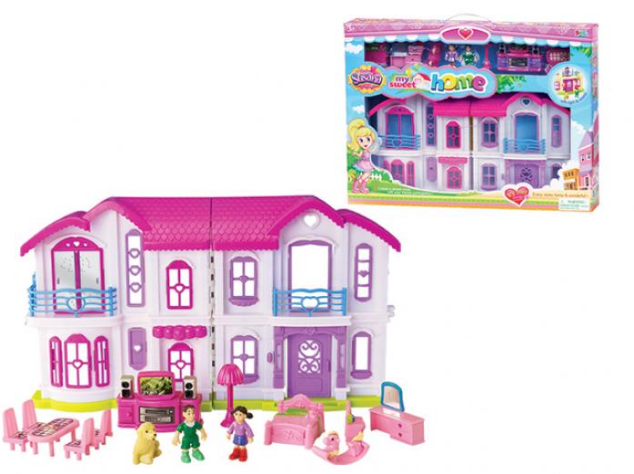 Игрушка SFL Дом 16657 с мебелью 15 предметов, со светом и звуком, на батарейках, в коробке 55,5*8,5*41,5см