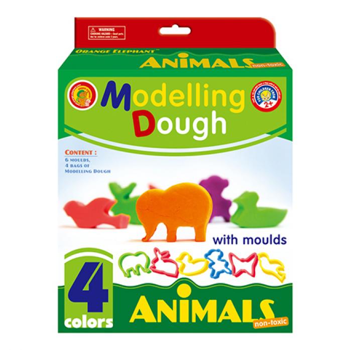 """Масса Оранжевый слон MD/AN д/лепки-тесто, 3цв. по 28гр. """"""""Животные"""""""", в коробке 19,4х7х17,3см"""