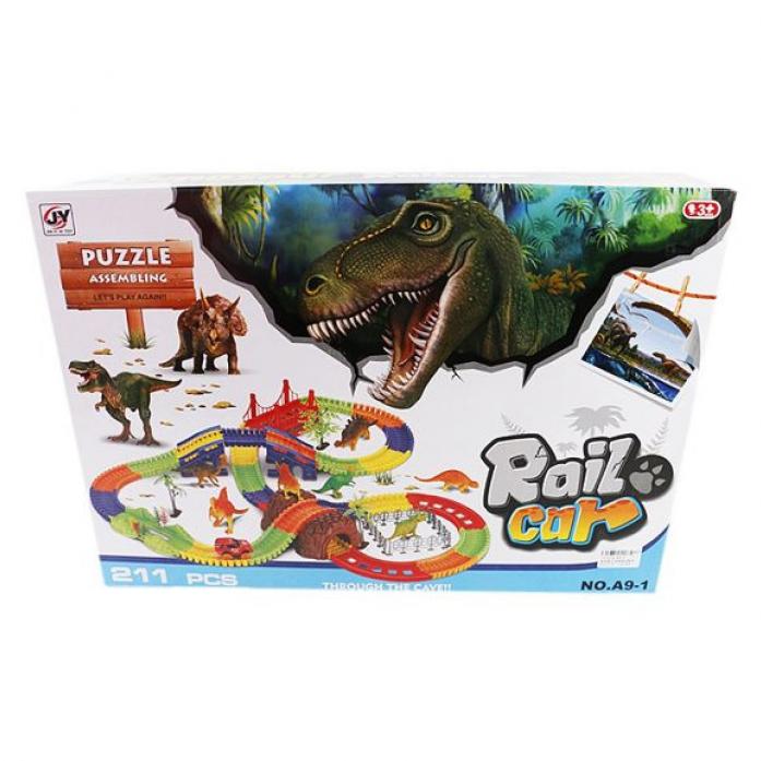Игровой набор Shantou Gepai Автотрек Динозавры 211 деталей A9-1