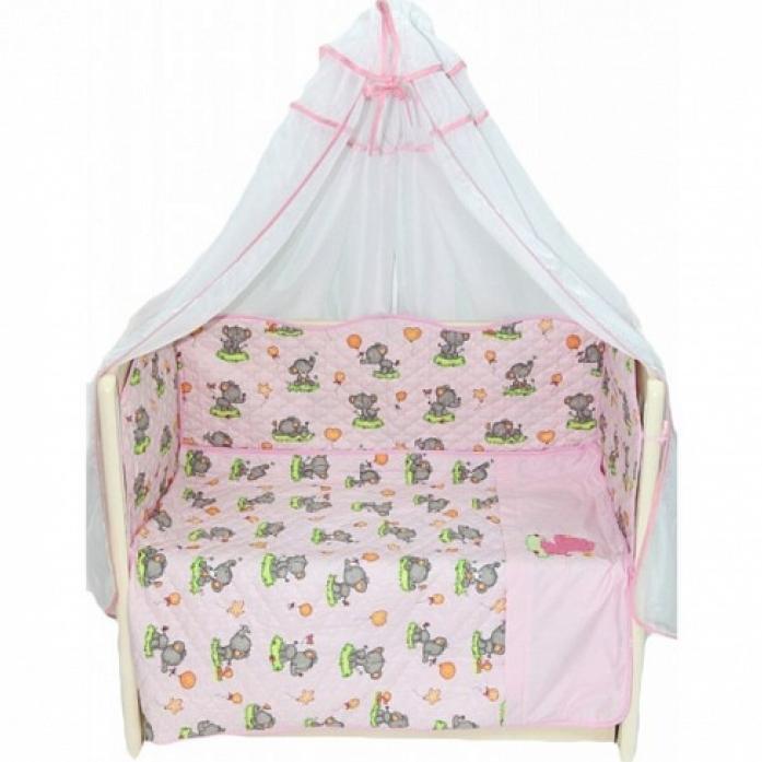 Комплект в кроватку Bombus Универсальный 6 пр эконом 1306 розовый