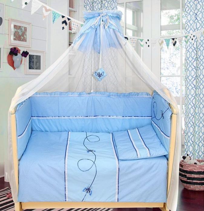 Комплект в кроватку Bombus Бабочки7 пр 1472 голубой